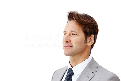 Buy stock photo Portrait of a smiling young businessman looking at copyspace against white - Isolated