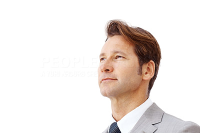 Buy stock photo Successful young businessman looking away against white background - Copyspace
