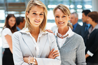 Buy stock photo Female executives standing close to each other