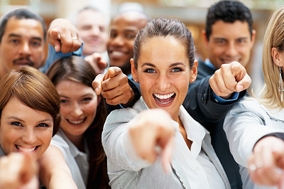 Buy stock photo Happy diverse group of executives all pointing at you with a smile - portrait