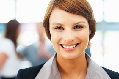 Buy stock photo Closeup portrait of young businesswoman smiling