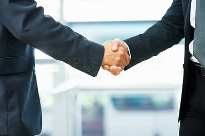 Buy stock photo Closeup view of businessmen shaking hands