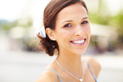 Buy stock photo Closeup portrait of pretty young lady looking happy outdoor