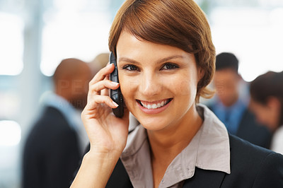 Buy stock photo Closeup of young businesswoman on phone call indoors
