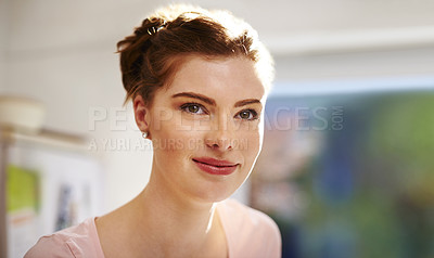Buy stock photo Shot of an attractive young woman at home