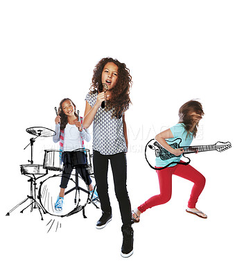 Buy stock photo Studio shot of children singing and playing music on imaginary instruments