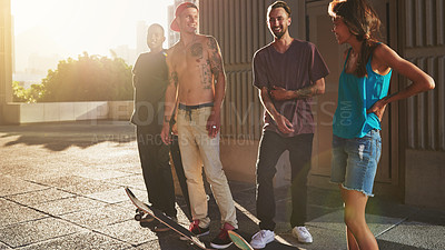 Buy stock photo Shot of a group of skaters standing together