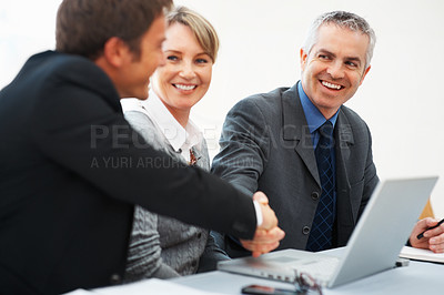 Buy stock photo Business man shaking hands with colleague