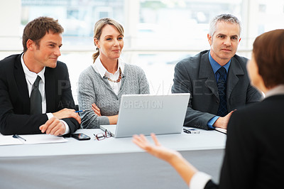 Buy stock photo Panel of executives interviewing a woman