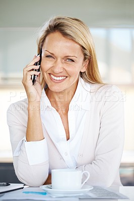 Buy stock photo Portrait of a beautiful smart business woman talking on mobile at her desk