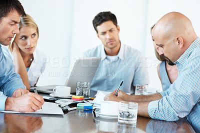 Buy stock photo Group of business people in a meeting at office  - Staff meeting