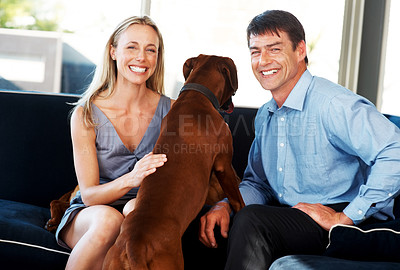 Buy stock photo Portrait happy young couple sitting on couch with their pet at home - Indoor. Rhodesian ridgeback