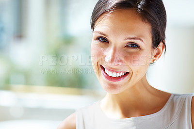 Buy stock photo Closeup portrait of pretty young woman - Outdoors