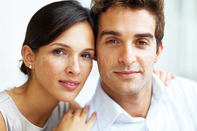 Buy stock photo Closeup portrait of happy young love couple together