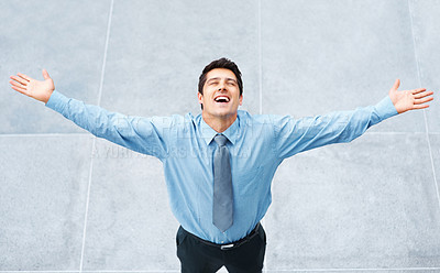 Buy stock photo Man in shirt and tie standing with arms outstretched