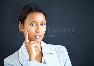 Buy stock photo Closeup business woman standing with hand on chin