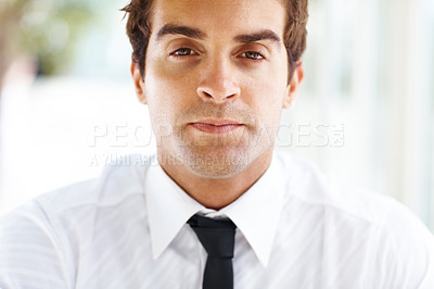 Buy stock photo Portrait of handsome young male business executive looking serious