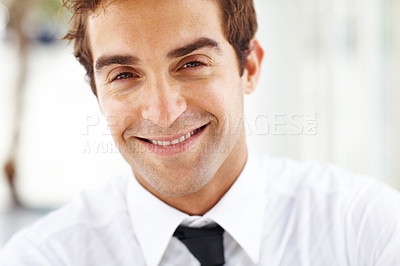 Buy stock photo Closeup portrait of casual young businessman smiling