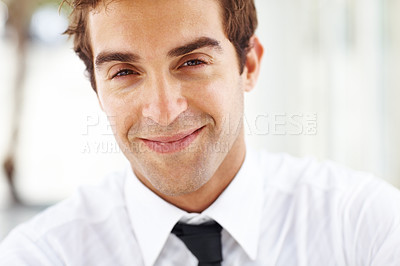 Buy stock photo Closeup portrait of happy young male entrepreneur looking confidently