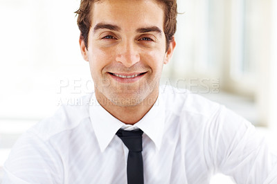 Buy stock photo Closeup portrait of successful young male business executive smiling