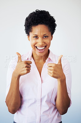 Buy stock photo Excited business woman giving two thumbs up on white background