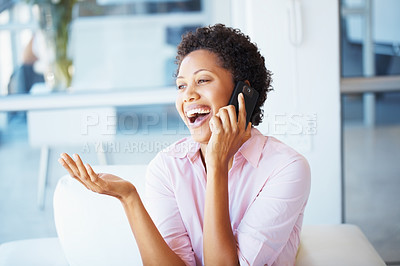 Buy stock photo Beautiful young woman chatting on cell phone