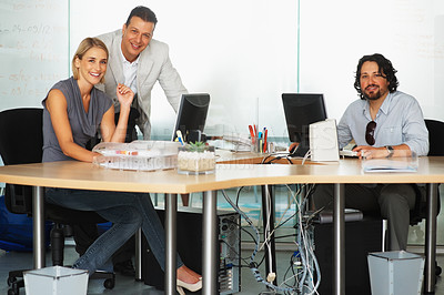 Buy stock photo Businesspeople working together at the office