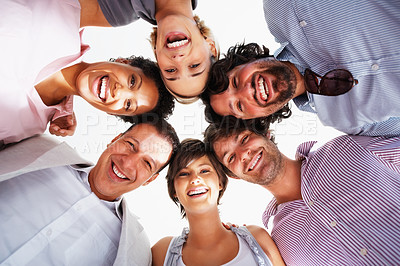 Buy stock photo Group of smiling business people standing in huddle