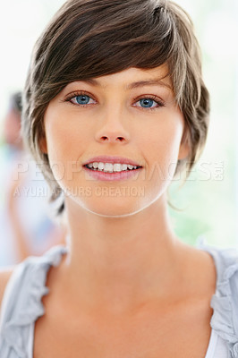 Buy stock photo Closeup of serious woman in casual attire