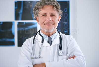 Buy stock photo Portrait of a mature radiologist standing in his office