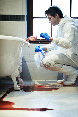 Buy stock photo Cropped shot of a forensic examiner gathering evidence from a bloody crime scene