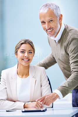 Buy stock photo Portrait of a young businesswoman and a a mature businessman in an office