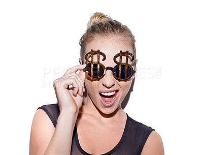 Buy stock photo Portrait of an unconventional blonde woman wearing bling sunglasses