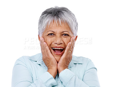 Buy stock photo Studio shot of a surprised-looking mature woman isolated on white