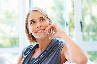 Buy stock photo Closeup of pretty blonde looking into distance