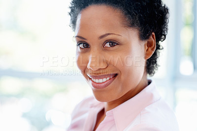 Buy stock photo Closeup of woman smiling against window