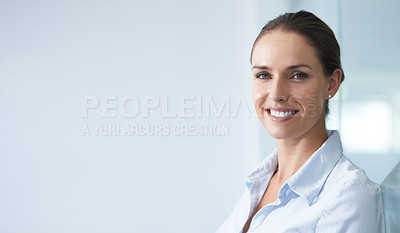 Buy stock photo A cropped shot of a smiling businesswoman in the office