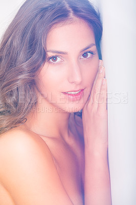 Buy stock photo Portrait of a sexy nude woman indoors