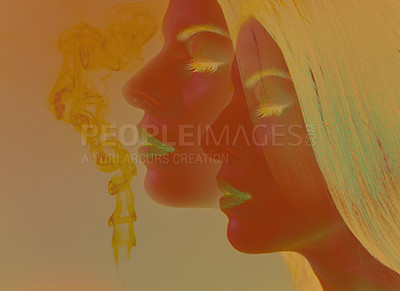 Buy stock photo Studio shot of a young woman bathed in colorful light