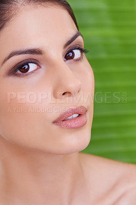 Buy stock photo Studio portrait of a beautiful young woman posing in front of a leaf