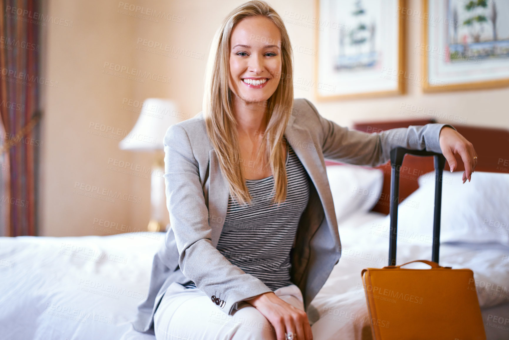 Buy stock photo Portrait of a beautiful businesswoman in her hotel room