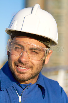 Buy stock photo Cropped shot of a construction worker outdoors