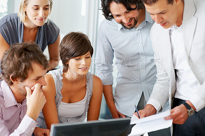 Buy stock photo Team of professionals busy working in board room