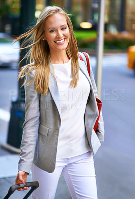 Buy stock photo A portrait of a gorgeous woman with her luggage in New York