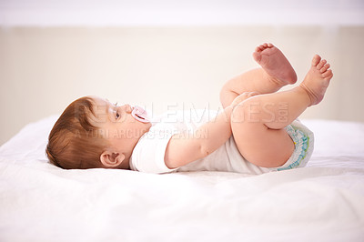 Buy stock photo Cropped shot of an adorable baby girl