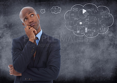 Buy stock photo Conceptual shot of a businessman with a though bubble drawn on chalk behind hime