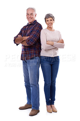 Buy stock photo Studio portrait of a happy elderly couple isolated on white