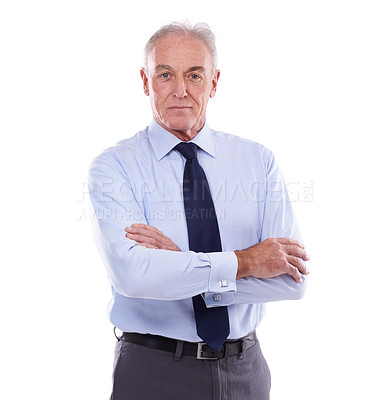 Buy stock photo Studio portrait of a senior businessman against a white background