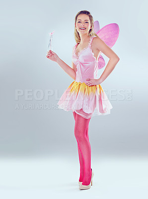 Buy stock photo A full length shot of a cute fairy dressed in pink