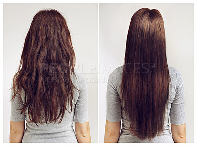 Buy stock photo Before and after shot of a woman with curly and straight hair